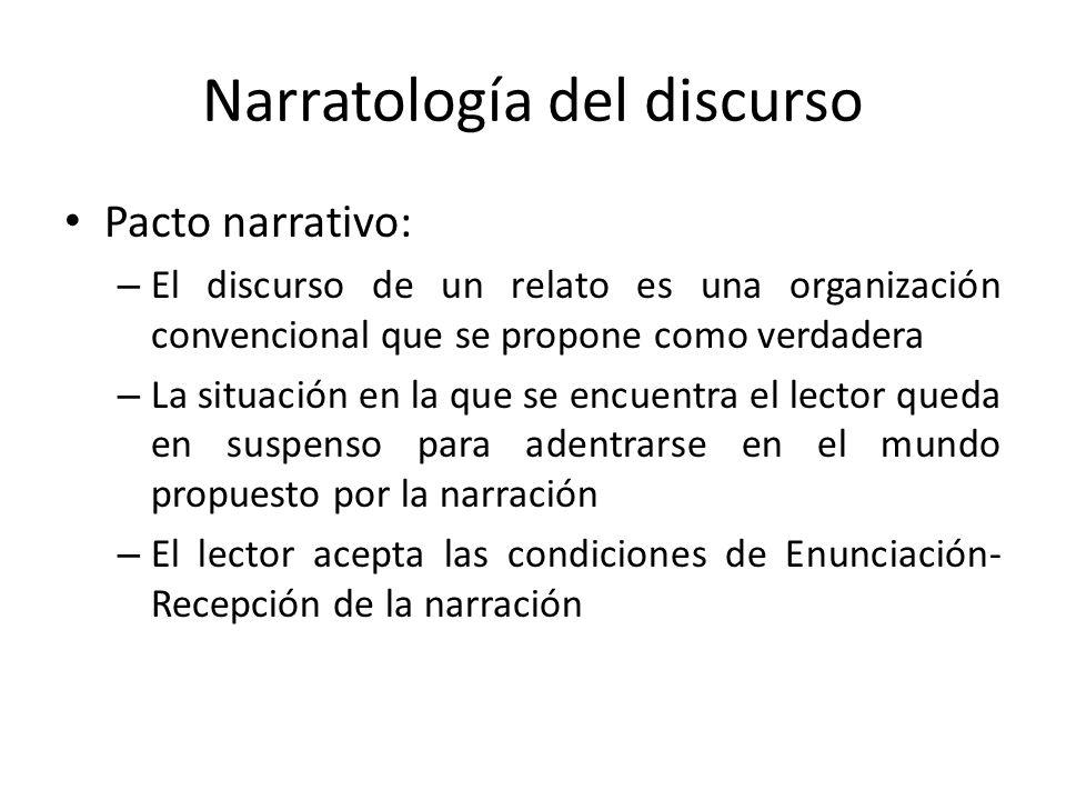 Narratología del discurso Pacto narrativo: – El discurso de un relato es una organización convencional que se propone como verdadera – La situación en