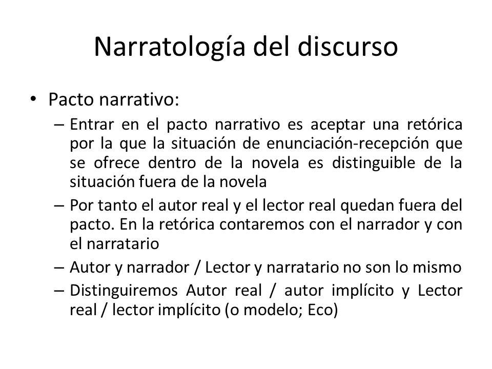 Narratología del discurso Pacto narrativo: – Entrar en el pacto narrativo es aceptar una retórica por la que la situación de enunciación-recepción que