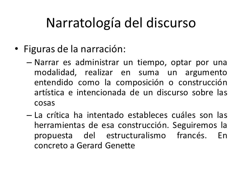 Narratología del discurso Figuras de la narración: – Narrar es administrar un tiempo, optar por una modalidad, realizar en suma un argumento entendido
