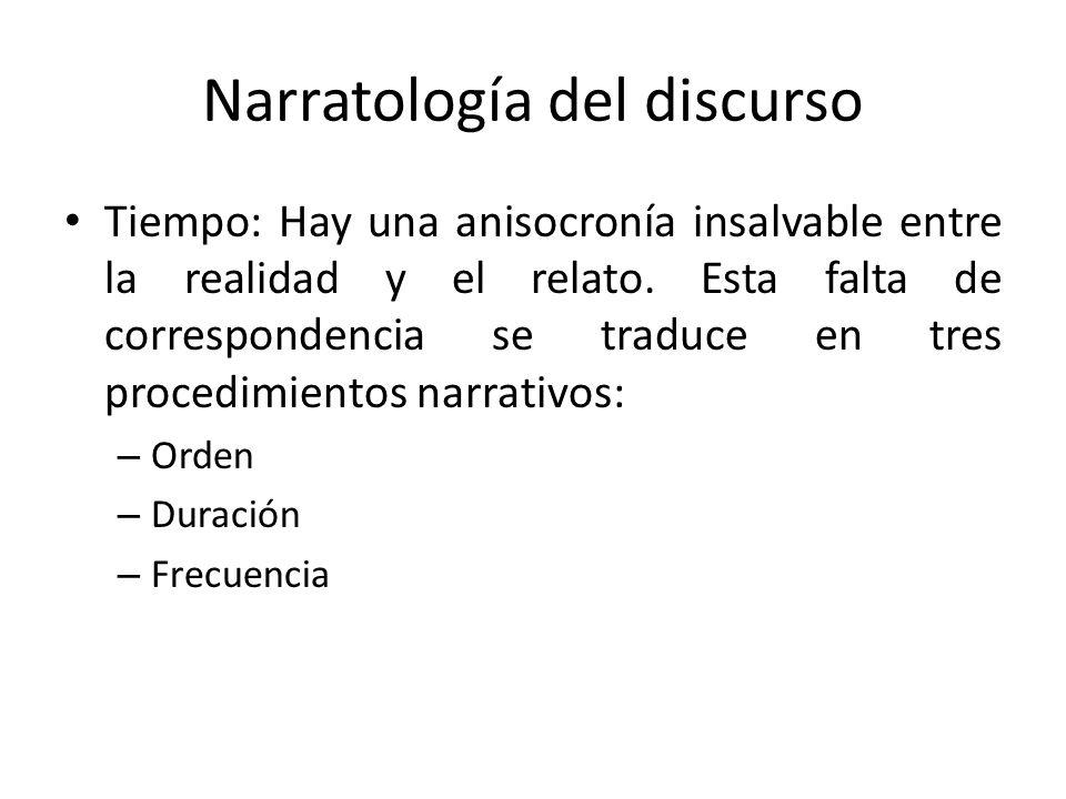 Narratología del discurso Tiempo: Hay una anisocronía insalvable entre la realidad y el relato. Esta falta de correspondencia se traduce en tres proce