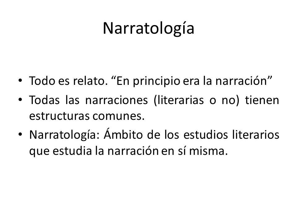Narratología Todo es relato. En principio era la narración Todas las narraciones (literarias o no) tienen estructuras comunes. Narratología: Ámbito de