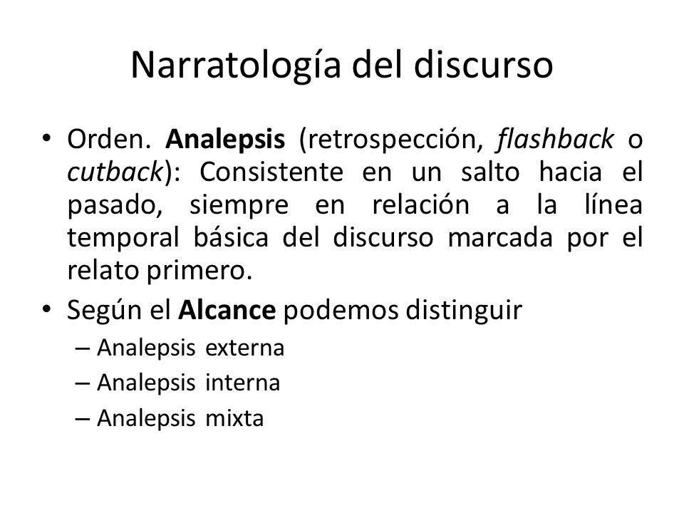 Narratología del discurso Orden. Analepsis (retrospección, flashback o cutback): Consistente en un salto hacia el pasado, siempre en relación a la lín