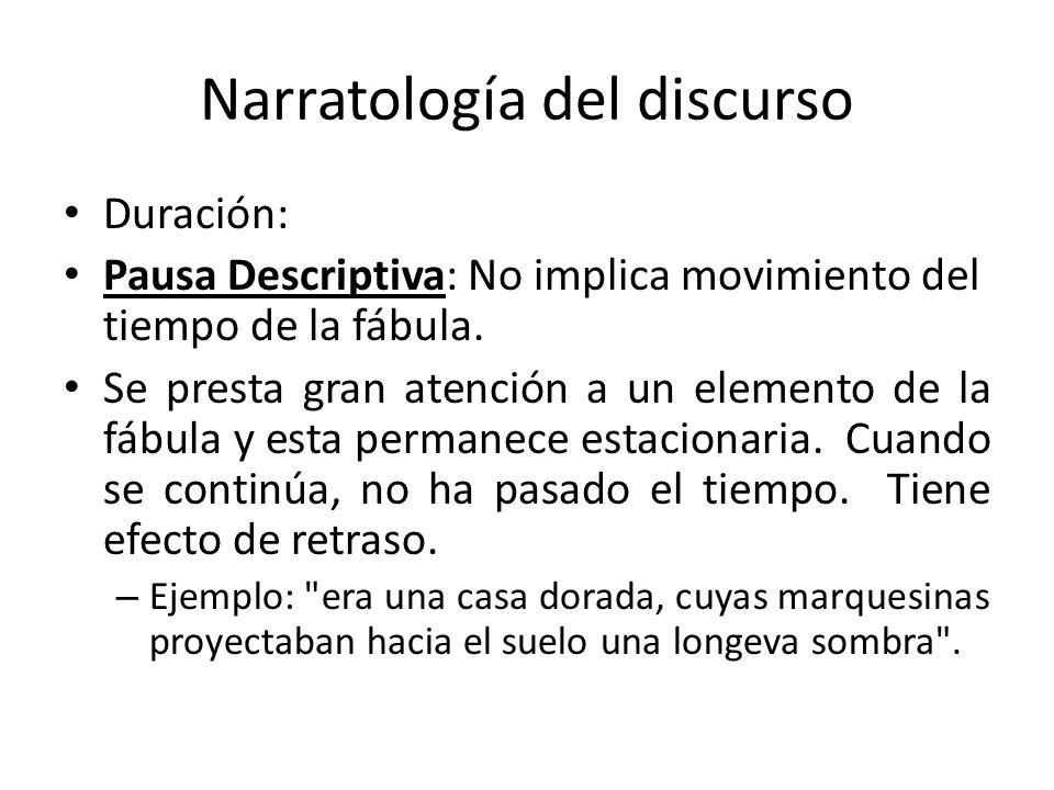 Narratología del discurso Duración: Pausa Descriptiva: No implica movimiento del tiempo de la fábula. Se presta gran atención a un elemento de la fábu