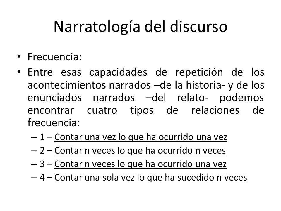 Narratología del discurso Frecuencia: Entre esas capacidades de repetición de los acontecimientos narrados –de la historia- y de los enunciados narrad