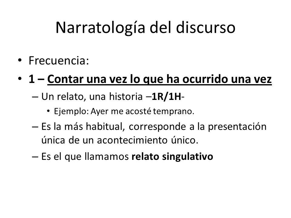 Narratología del discurso Frecuencia: 1 – Contar una vez lo que ha ocurrido una vez – Un relato, una historia –1R/1H- Ejemplo: Ayer me acosté temprano