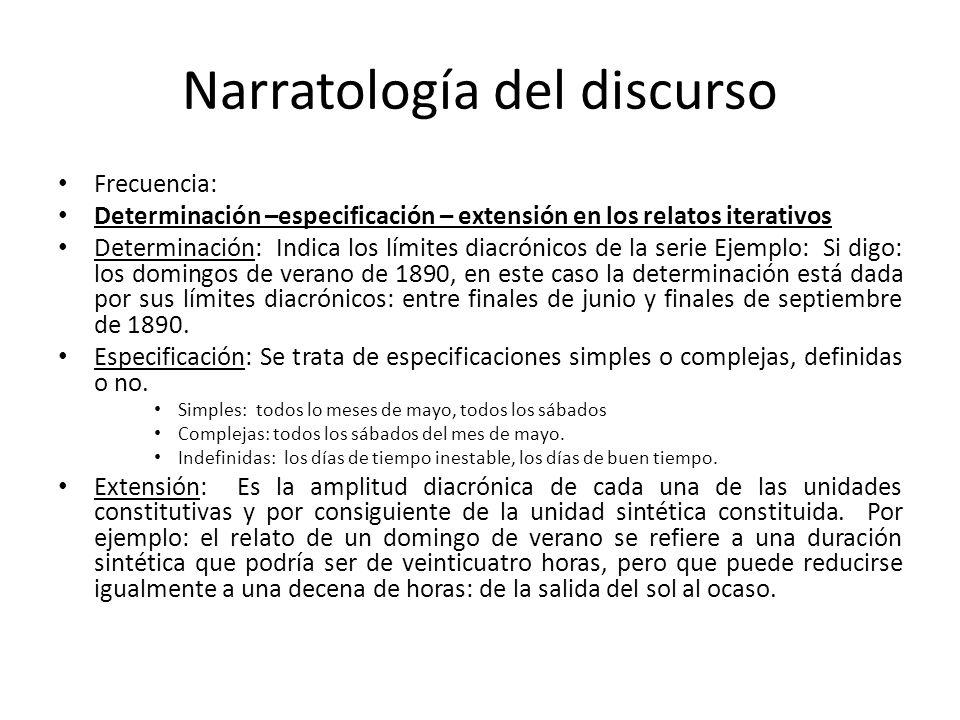 Narratología del discurso Frecuencia: Determinación –especificación – extensión en los relatos iterativos Determinación: Indica los límites diacrónico