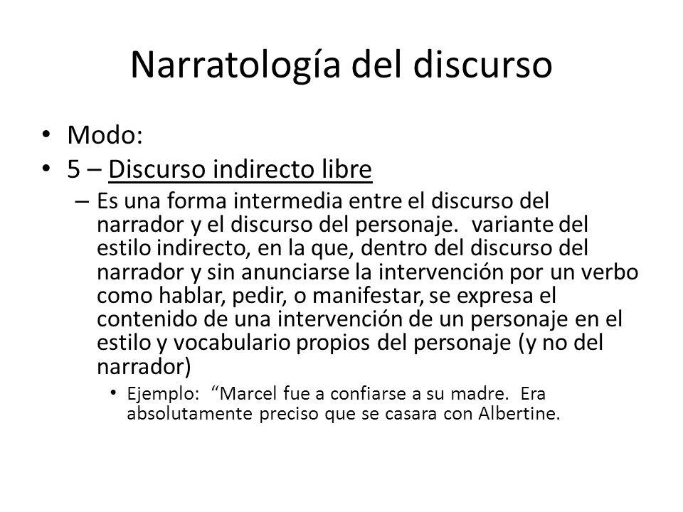 Narratología del discurso Modo: 5 – Discurso indirecto libre – Es una forma intermedia entre el discurso del narrador y el discurso del personaje. var