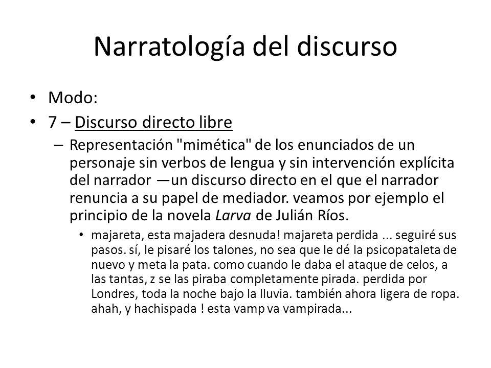 Narratología del discurso Modo: 7 – Discurso directo libre – Representación