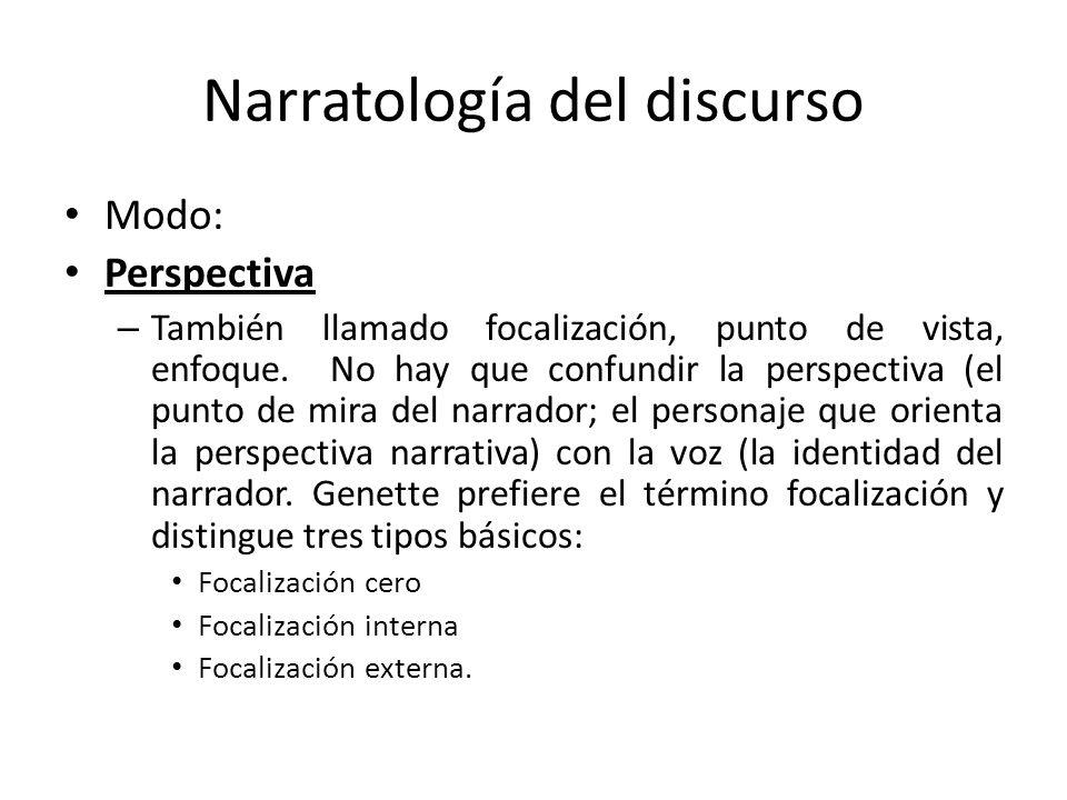 Narratología del discurso Modo: Perspectiva – También llamado focalización, punto de vista, enfoque. No hay que confundir la perspectiva (el punto de
