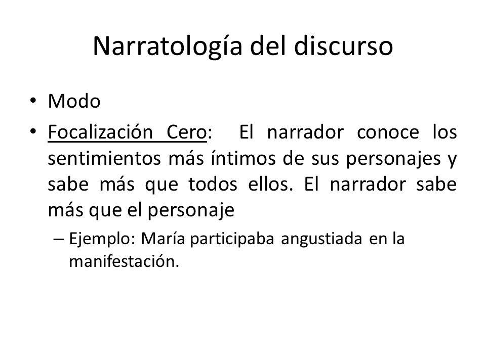 Narratología del discurso Modo Focalización Cero: El narrador conoce los sentimientos más íntimos de sus personajes y sabe más que todos ellos. El nar