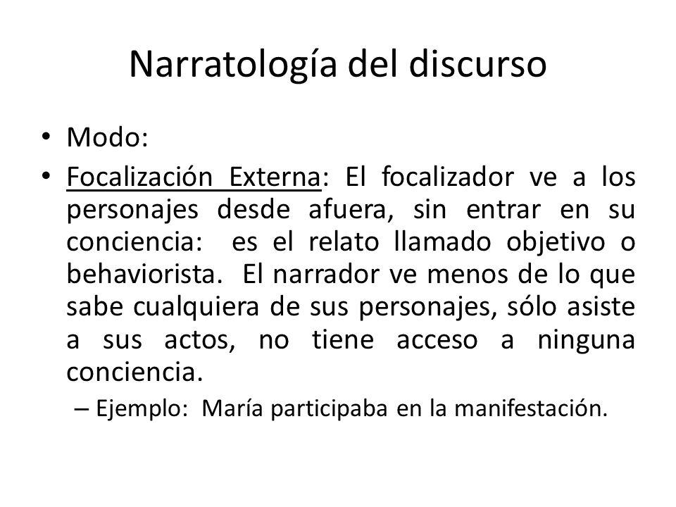 Narratología del discurso Modo: Focalización Externa: El focalizador ve a los personajes desde afuera, sin entrar en su conciencia: es el relato llama