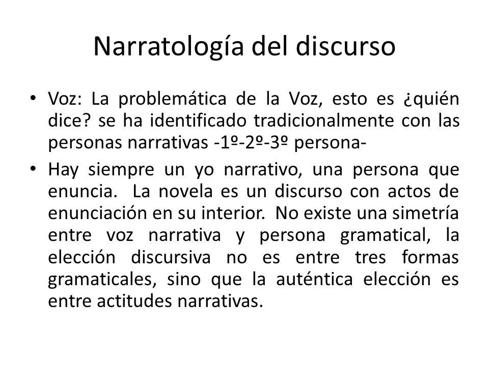 Narratología del discurso Voz: La problemática de la Voz, esto es ¿quién dice? se ha identificado tradicionalmente con las personas narrativas -1º-2º-