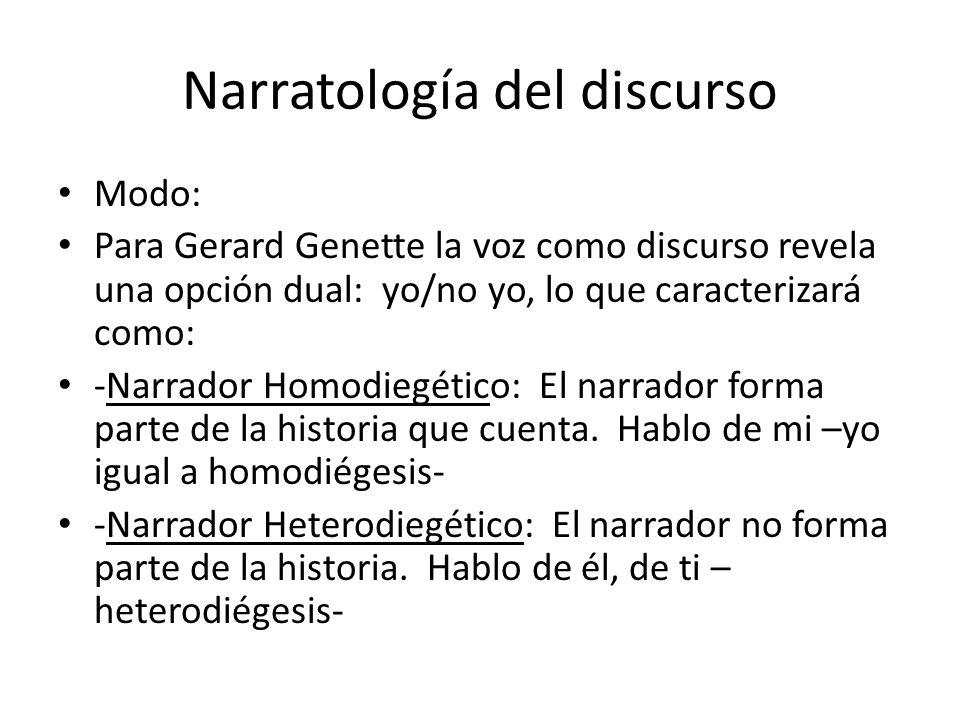 Narratología del discurso Modo: Para Gerard Genette la voz como discurso revela una opción dual: yo/no yo, lo que caracterizará como: -Narrador Homodi