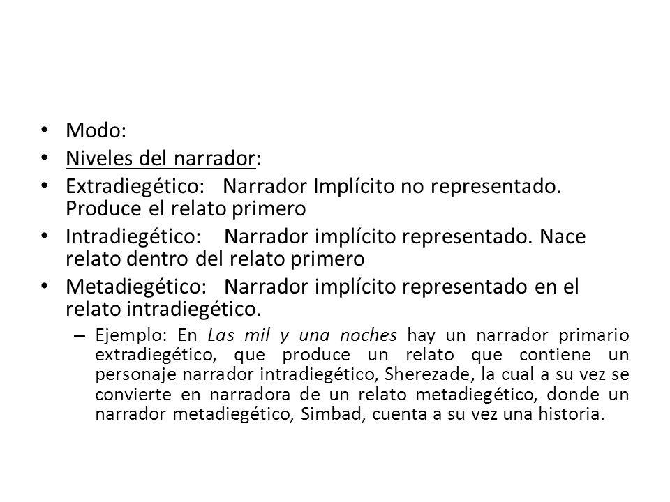 Modo: Niveles del narrador: Extradiegético: Narrador Implícito no representado. Produce el relato primero Intradiegético: Narrador implícito represent