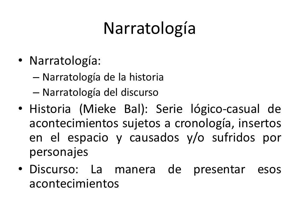 Narratología Narratología: – Narratología de la historia – Narratología del discurso Historia (Mieke Bal): Serie lógico-casual de acontecimientos suje