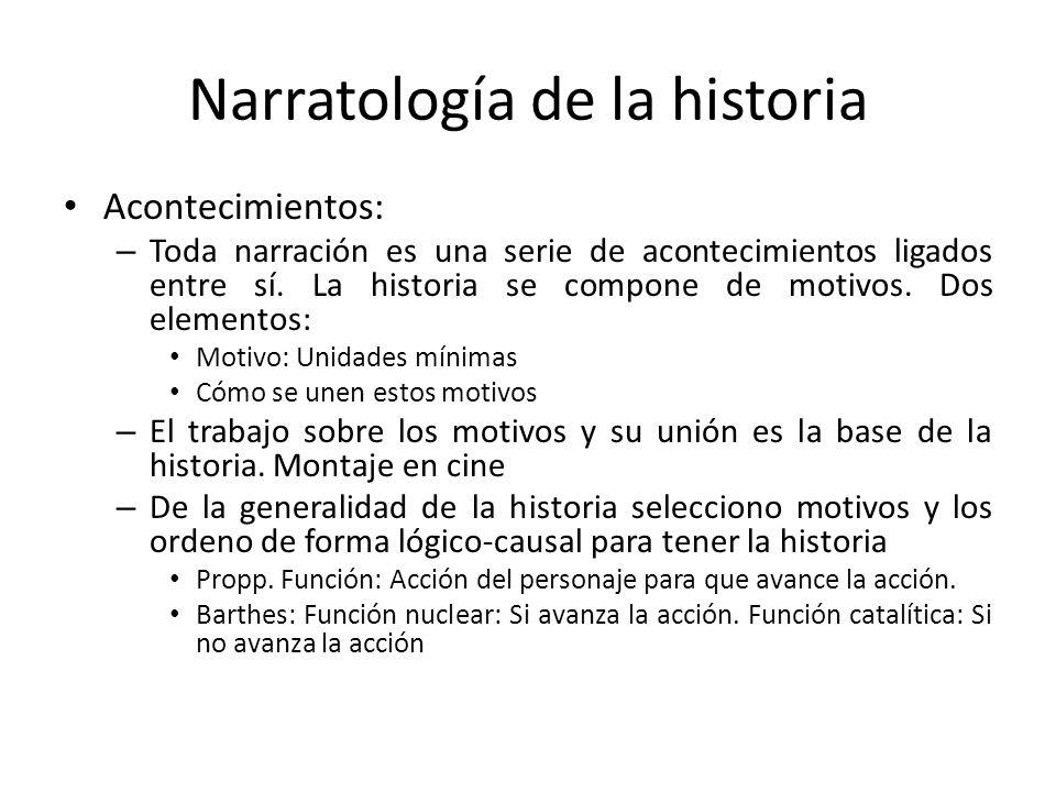 Narratología de la historia Acontecimientos: – Toda narración es una serie de acontecimientos ligados entre sí. La historia se compone de motivos. Dos