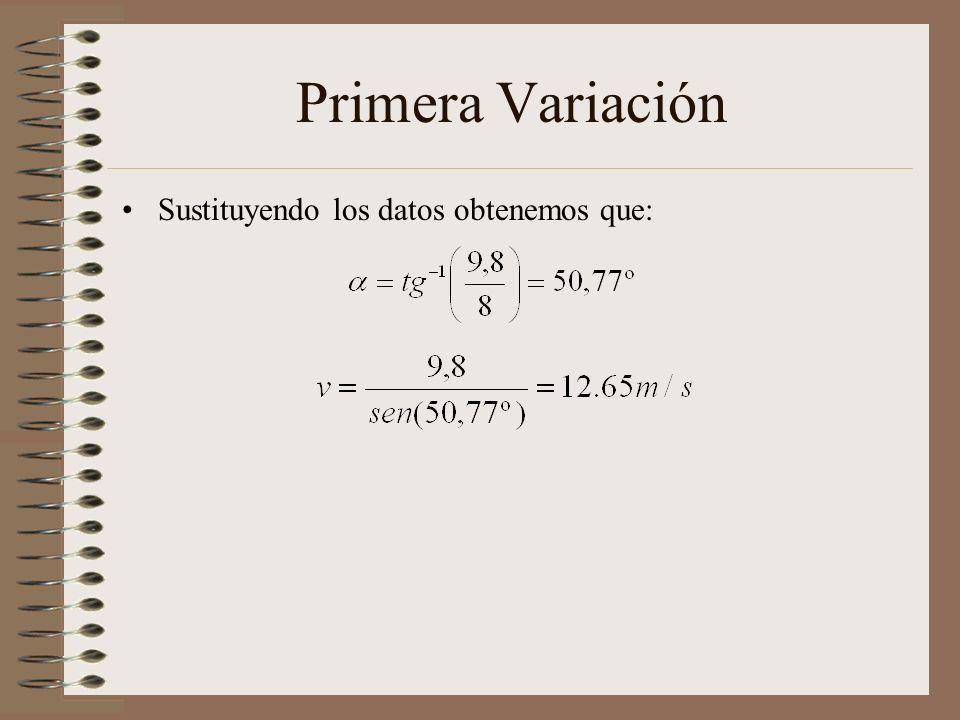 Primera Variación En este caso se tomaron como fijos: En este caso el objetivo es determinar el ángulo y la velocidad con la que debe ser lanzada la f