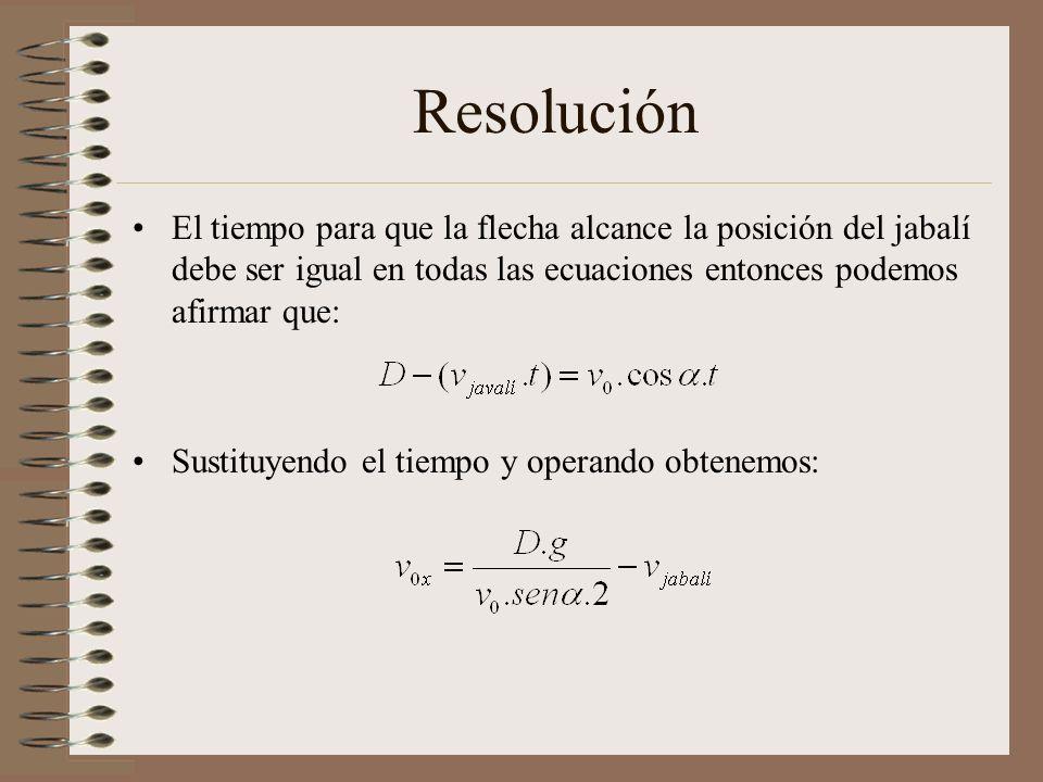 Resolución El tiempo para que la flecha alcance la posición del jabalí debe ser igual en todas las ecuaciones entonces podemos afirmar que: Sustituyendo el tiempo y operando obtenemos: