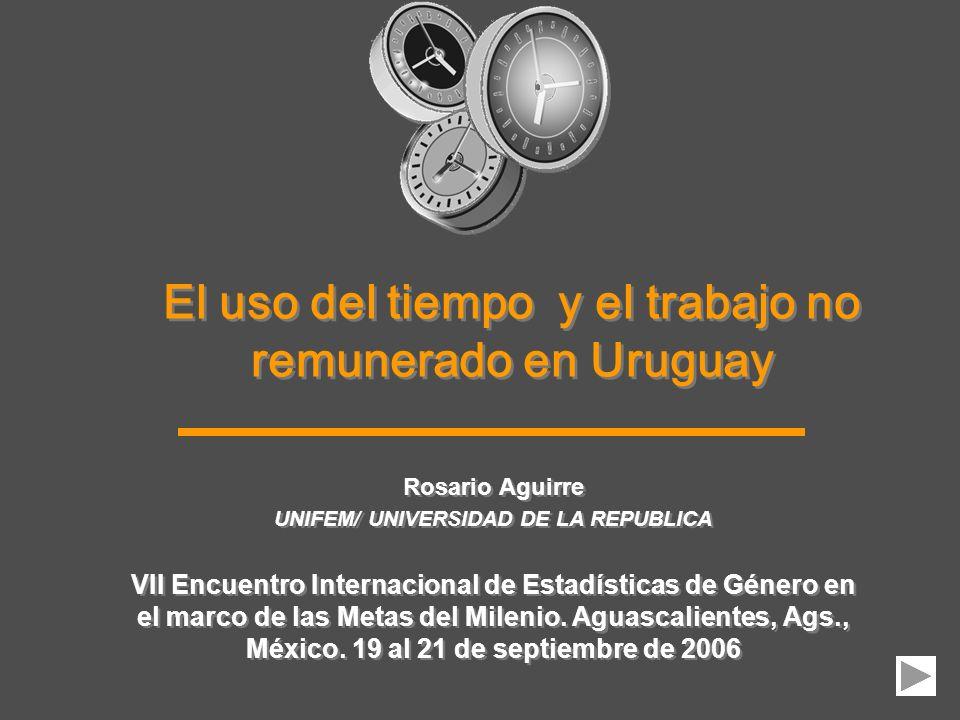 El uso del tiempo y el trabajo no remunerado en Uruguay Rosario Aguirre UNIFEM/ UNIVERSIDAD DE LA REPUBLICA VII Encuentro Internacional de Estadística