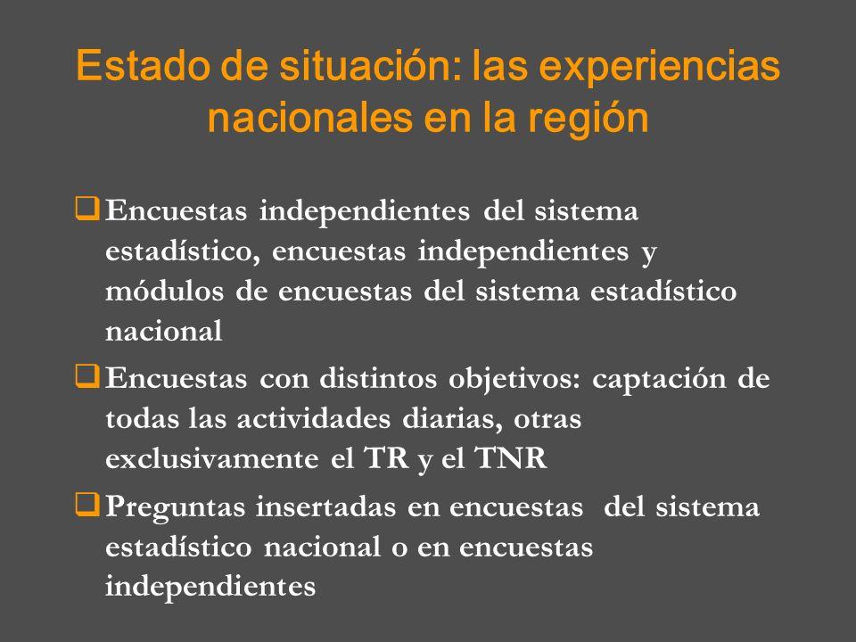 Estado de situación: las experiencias nacionales en la región Encuestas independientes del sistema estadístico, encuestas independientes y módulos de