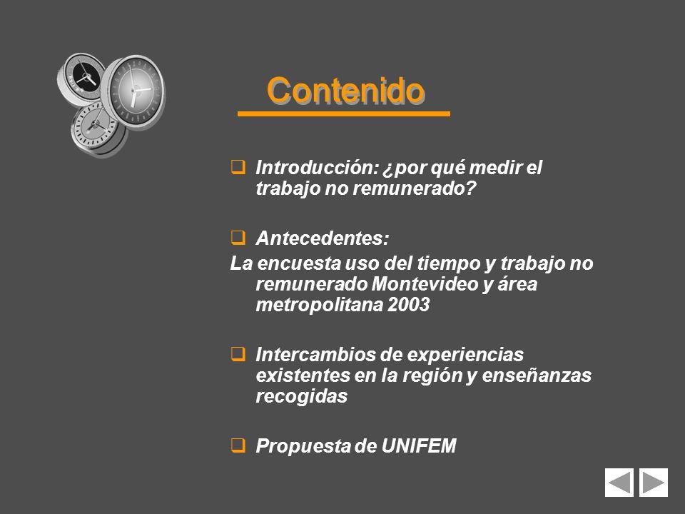Contenido Introducción: ¿por qué medir el trabajo no remunerado? Antecedentes: La encuesta uso del tiempo y trabajo no remunerado Montevideo y área me
