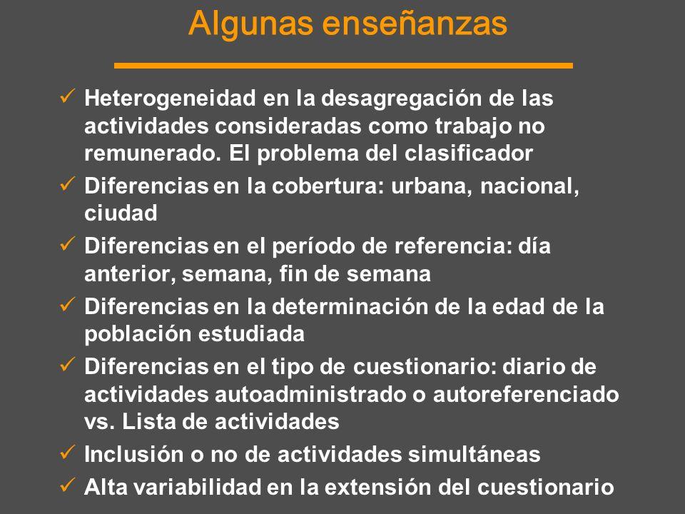 Algunas enseñanzas Heterogeneidad en la desagregación de las actividades consideradas como trabajo no remunerado. El problema del clasificador Diferen