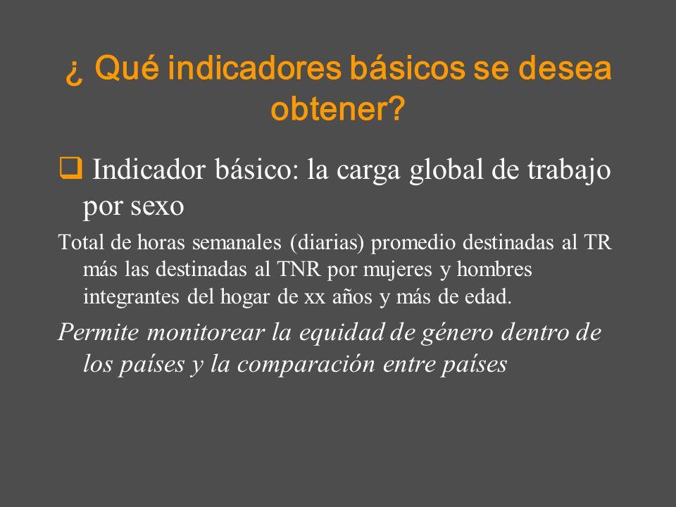 ¿ Qué indicadores básicos se desea obtener? Indicador básico: la carga global de trabajo por sexo Total de horas semanales (diarias) promedio destinad