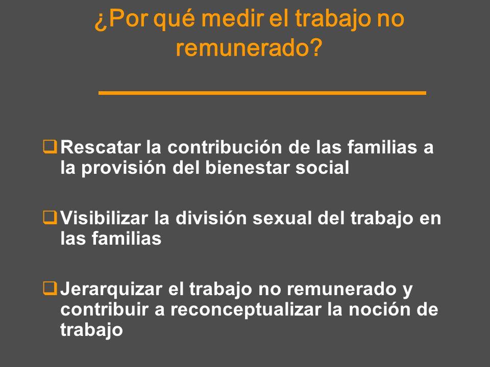 Rescatar la contribución de las familias a la provisión del bienestar social Visibilizar la división sexual del trabajo en las familias Jerarquizar el