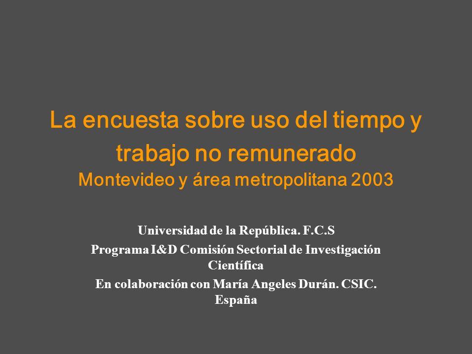 La encuesta sobre uso del tiempo y trabajo no remunerado Montevideo y área metropolitana 2003 Universidad de la República. F.C.S Programa I&D Comisión