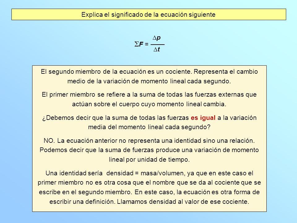 Explica el significado de la ecuación siguiente El segundo miembro de la ecuación es un cociente. Representa el cambio medio de la variación de moment