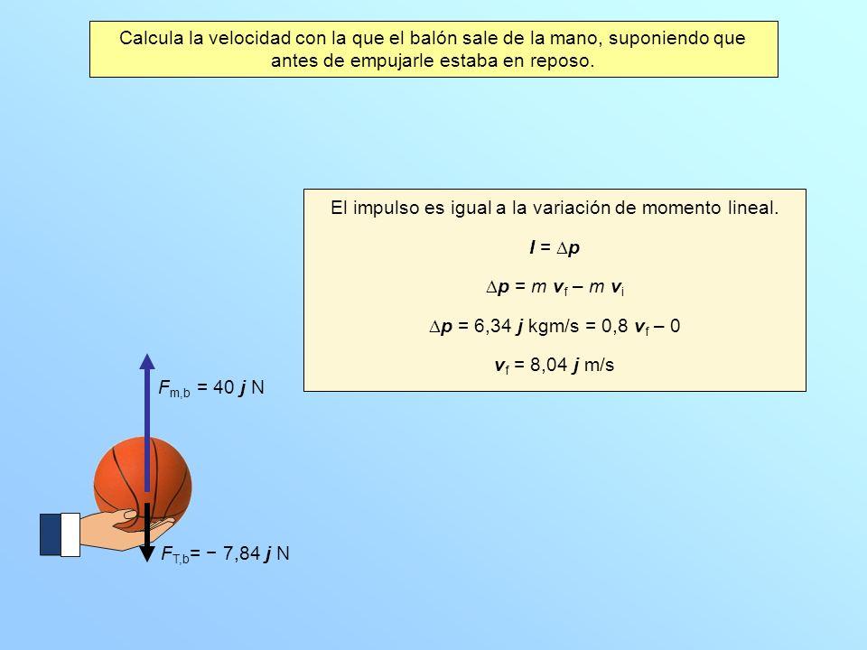 Calcula la velocidad con la que el balón sale de la mano, suponiendo que antes de empujarle estaba en reposo. F T,b = 7,84 j N F m,b = 40 j N El impul