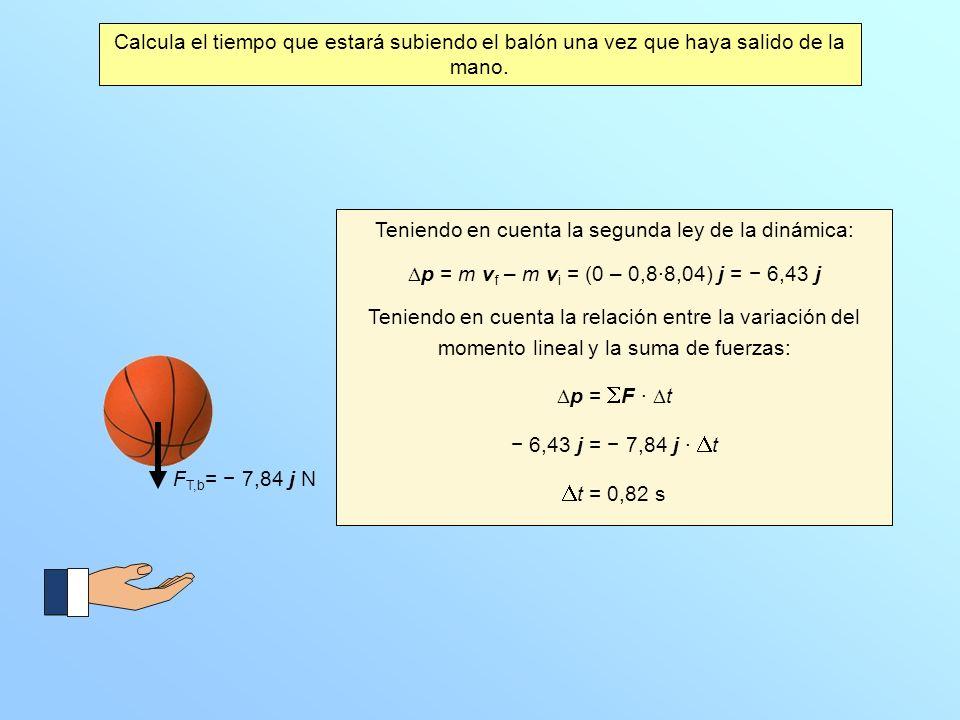 Calcula el tiempo que estará subiendo el balón una vez que haya salido de la mano. F T,b = 7,84 j N Teniendo en cuenta la segunda ley de la dinámica: