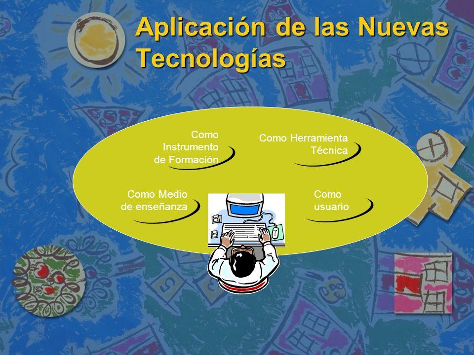 Aplicación de las Nuevas Tecnologías Como Medio de enseñanza Como Instrumento de Formación Como Herramienta Técnica Como usuario