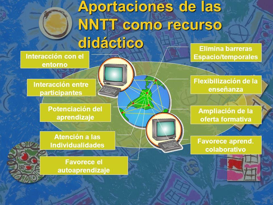Aportaciones de las NNTT como recurso didáctico Elimina barreras Espacio/temporales Flexibilización de la enseñanza Ampliación de la oferta formativa