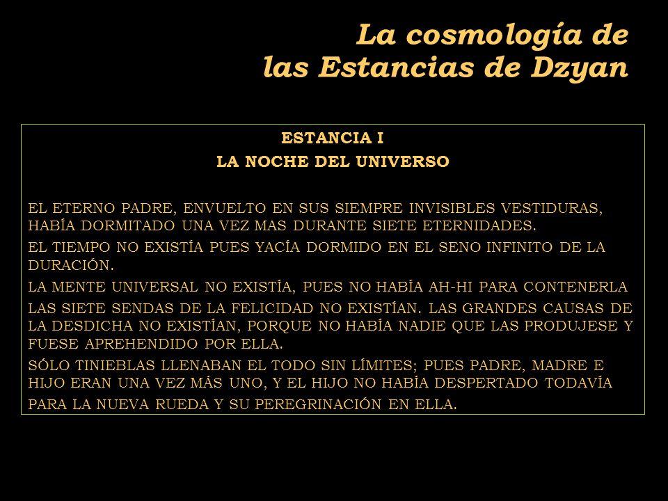 2011-04 Física moderna, Cosmología y Doctrina Secreta La cosmología de las Estancias de Dzyan ESTANCIA I LA NOCHE DEL UNIVERSO EL ETERNO PADRE, ENVUELTO EN SUS SIEMPRE INVISIBLES VESTIDURAS, HABÍA DORMITADO UNA VEZ MAS DURANTE SIETE ETERNIDADES.