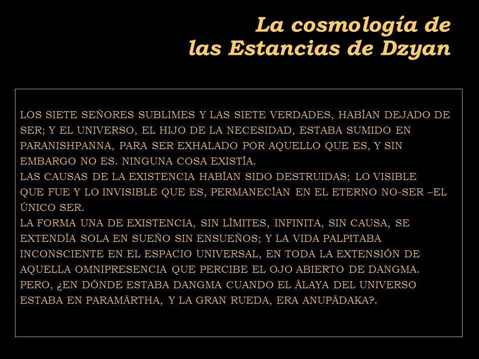 2011-04 Física moderna, Cosmología y Doctrina Secreta La cosmología de las Estancias de Dzyan LOS SIETE SEÑORES SUBLIMES Y LAS SIETE VERDADES, HABÍAN DEJADO DE SER; Y EL UNIVERSO, EL HIJO DE LA NECESIDAD, ESTABA SUMIDO EN PARANISHPANNA, PARA SER EXHALADO POR AQUELLO QUE ES, Y SIN EMBARGO NO ES.