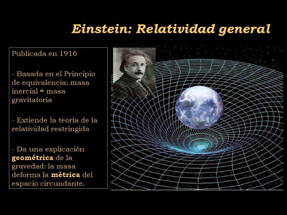 2011-04 Física moderna, Cosmología y Doctrina Secreta Publicada en 1916 - Basada en el Principio de equivalencia: masa inercial = masa gravitatoria - Extiende la teoría de la relatividad restringida - Da una explicación geométrica de la gravedad: la masa deforma la métrica del espacio circundante.