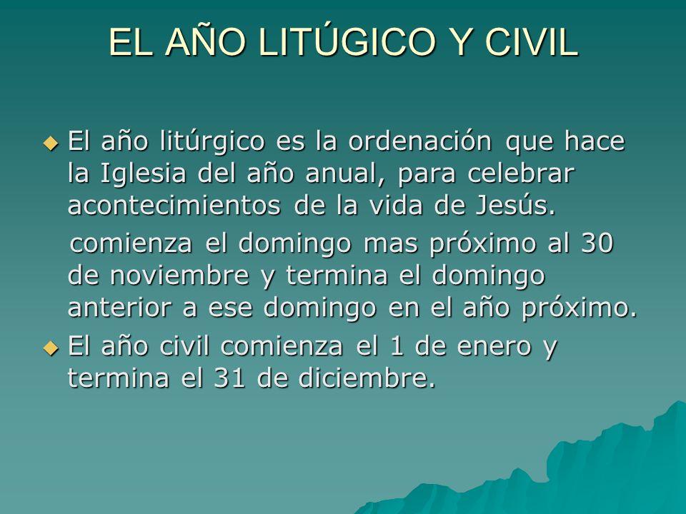 EL AÑO LITÚGICO Y CIVIL El año litúrgico es la ordenación que hace la Iglesia del año anual, para celebrar acontecimientos de la vida de Jesús.