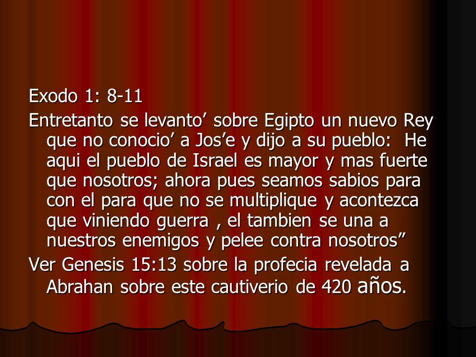 Exodo 1: 8-11 Entretanto se levanto sobre Egipto un nuevo Rey que no conocio a Jose y dijo a su pueblo: He aqui el pueblo de Israel es mayor y mas fue