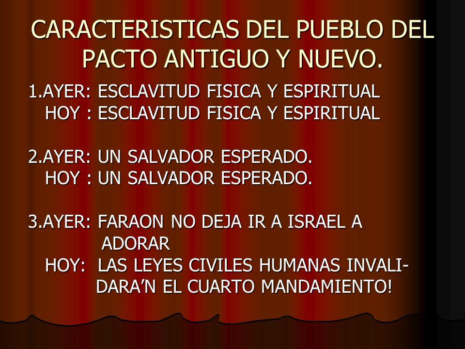 CARACTERISTICAS DEL PUEBLO DEL PACTO ANTIGUO Y NUEVO. 1.AYER: ESCLAVITUD FISICA Y ESPIRITUAL HOY : ESCLAVITUD FISICA Y ESPIRITUAL HOY : ESCLAVITUD FIS