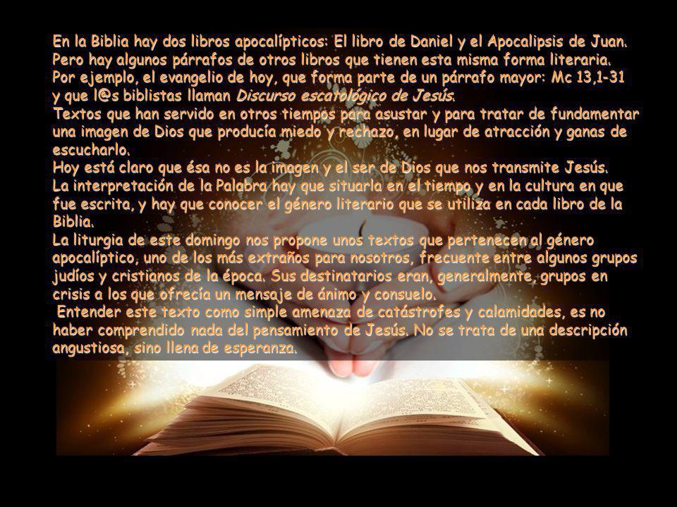 En la Biblia hay dos libros apocalípticos: El libro de Daniel y el Apocalipsis de Juan.