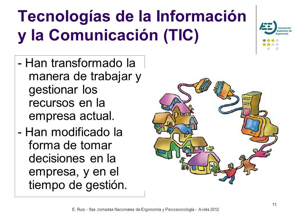 E. Ruiz - 8as Jornadas Nacionales de Ergonomía y Psicosociología - Avilés 2012 11 Tecnologías de la Información y la Comunicación (TIC) - Han transfor