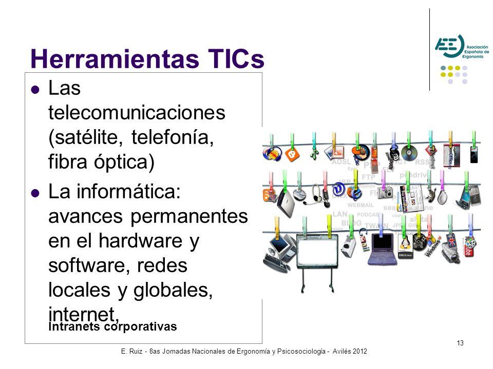 E. Ruiz - 8as Jornadas Nacionales de Ergonomía y Psicosociología - Avilés 2012 13 Herramientas TICs Las telecomunicaciones (satélite, telefonía, fibra