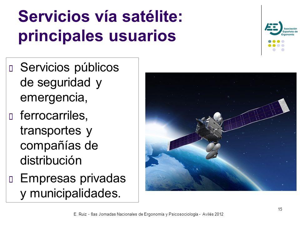 E. Ruiz - 8as Jornadas Nacionales de Ergonomía y Psicosociología - Avilés 2012 15 Servicios vía satélite: principales usuarios Servicios públicos de s