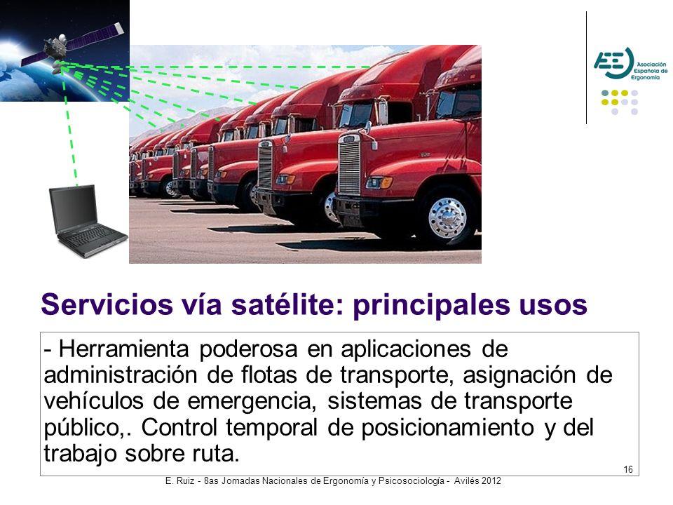 E. Ruiz - 8as Jornadas Nacionales de Ergonomía y Psicosociología - Avilés 2012 16 Servicios vía satélite: principales usos - Herramienta poderosa en a