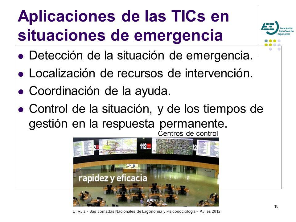 E. Ruiz - 8as Jornadas Nacionales de Ergonomía y Psicosociología - Avilés 2012 18 Aplicaciones de las TICs en situaciones de emergencia Detección de l