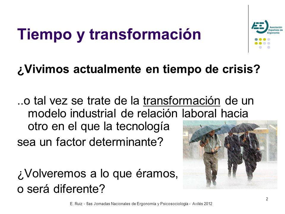 E. Ruiz - 8as Jornadas Nacionales de Ergonomía y Psicosociología - Avilés 2012 2 Tiempo y transformación ¿Vivimos actualmente en tiempo de crisis?..o