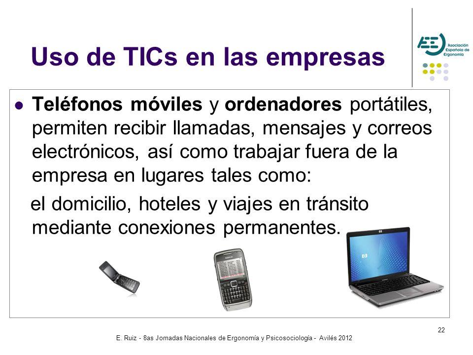 E. Ruiz - 8as Jornadas Nacionales de Ergonomía y Psicosociología - Avilés 2012 22 Teléfonos móviles y ordenadores portátiles, permiten recibir llamada