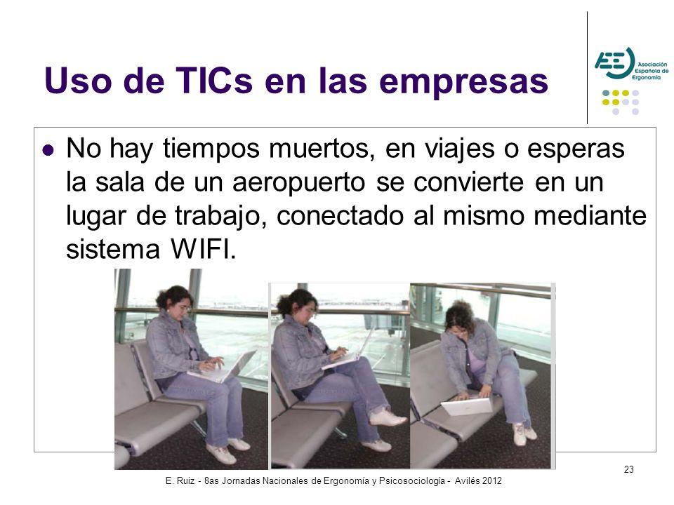 E. Ruiz - 8as Jornadas Nacionales de Ergonomía y Psicosociología - Avilés 2012 23 No hay tiempos muertos, en viajes o esperas la sala de un aeropuerto