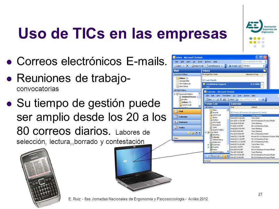 E. Ruiz - 8as Jornadas Nacionales de Ergonomía y Psicosociología - Avilés 2012 27 Correos electrónicos E-mails. Reuniones de trabajo- convocatorias Su